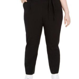 Bar III Women's Plus Tie-Waist Pants Black